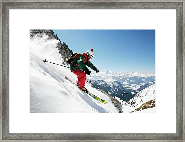A Young Skier, A Freerider Skis Down A Framed Print
