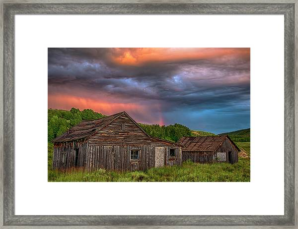 Abandoned Cabin And Rainbow 2 Framed Print