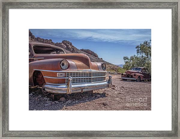 Abandoned Cars In The Desert Framed Print