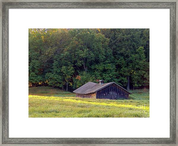 Abandoned Hay Barn At Sunrise Framed Print