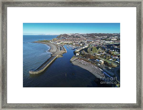 Aberystwyth Harbour From The Air In Winter Framed Print