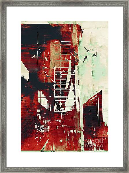 Abstract Architecture With Red Grunge Framed Print