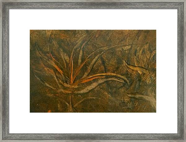 Abstract Brown/orange Floral In Encaustic Framed Print