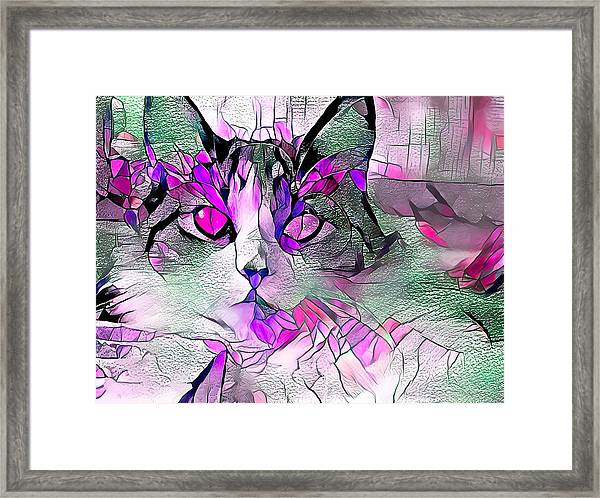 Abstract Calico Cat Purple Glass Framed Print