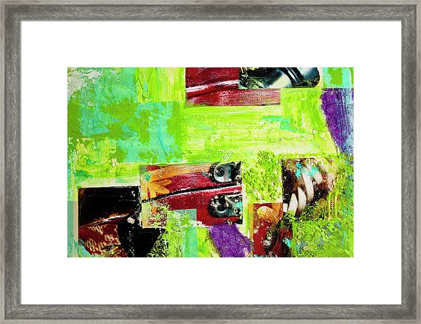 Abstract Collage Of Bright Paint And Framed Print