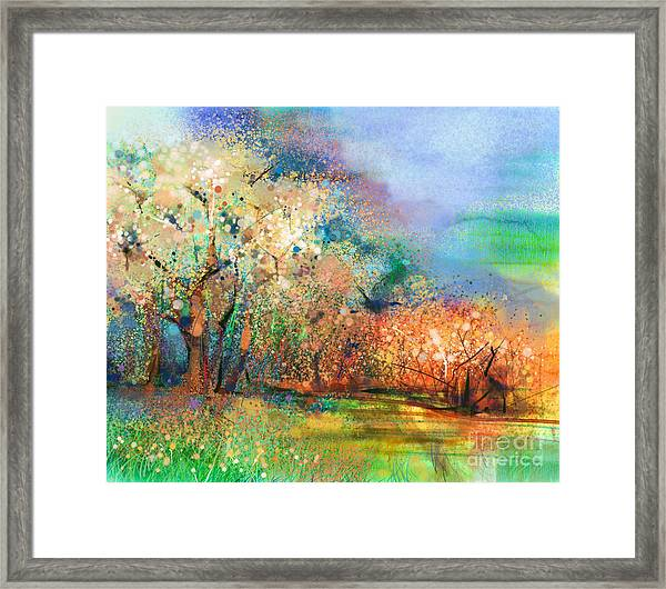 Abstract Colorful Landscape Painting Framed Print