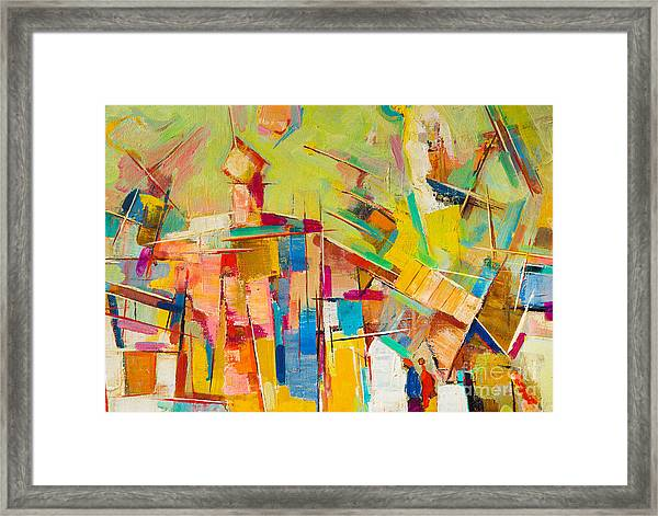 Abstract Colorful Oil Painting On Canvas Framed Print