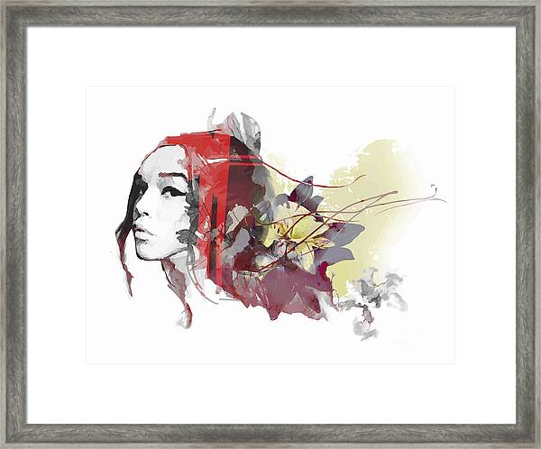 Abstract Composition With A Lady And Framed Print