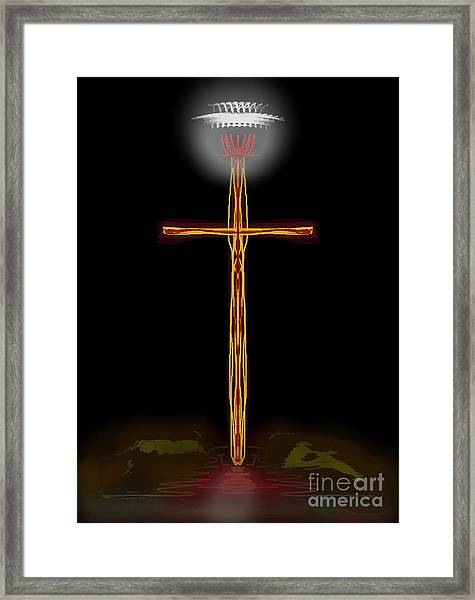 Abstract Cross With Halo Framed Print