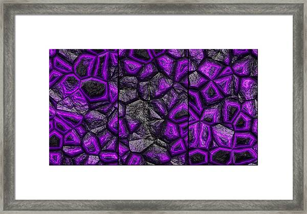 Abstract Deep Purple Stone Triptych Framed Print