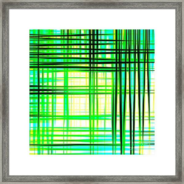 Abstract Design With Lines Squares In Green Color Waves - Pl409 Framed Print