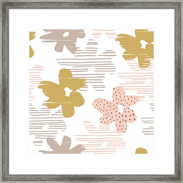 Abstract Floral Seamless Pattern With Framed Print