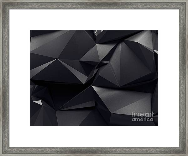 Abstract Graphite Crystal Background Framed Print