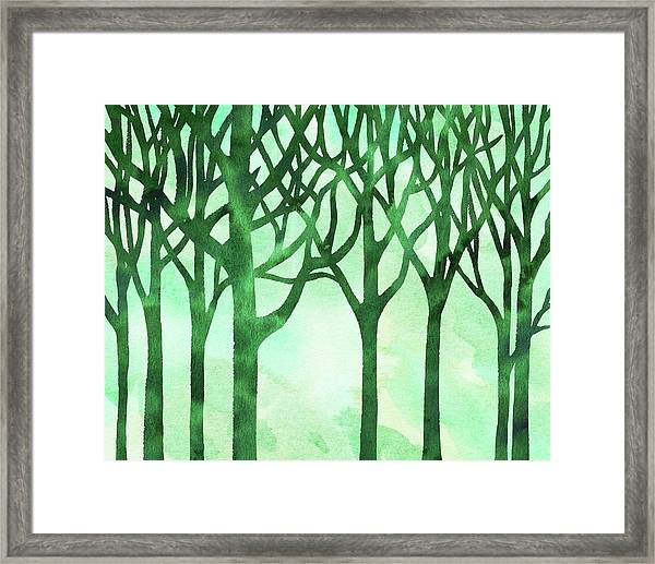 Abstract Green Marble Watercolor Forest Framed Print