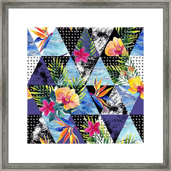 Abstract Grunge And Marble Triangles Framed Print