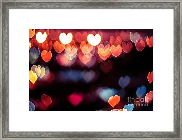 Abstract Love Or Heart Shape Bokeh Framed Print