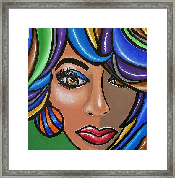 Abstract Woman Artwork Abstract Female Painting Colorful Hair Salon Art - Ai P. Nilson Framed Print