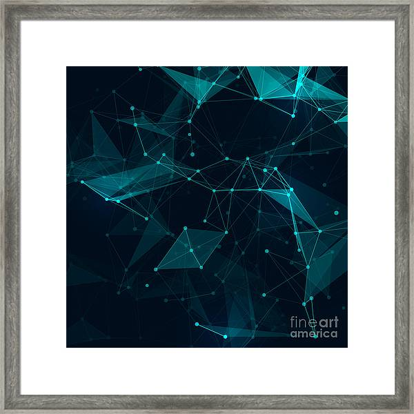 Abstract Polygonal Space Low Poly Dark Framed Print