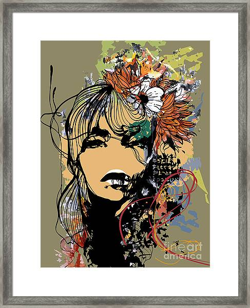 Abstract Print With Female Face Framed Print