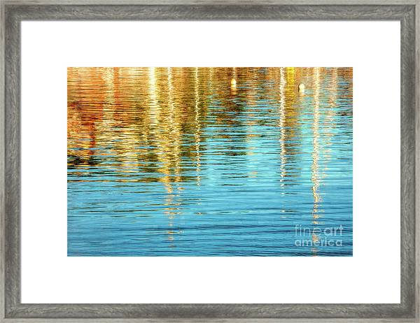 Abstract Reflections In Camden Harbor Maine Framed Print