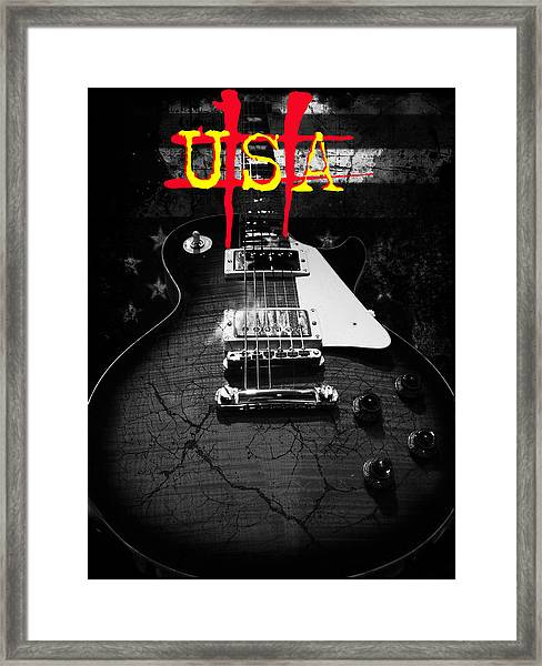 Abstract Relic Guitar Usa Flag Framed Print