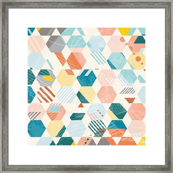 Abstract Retro Geometric Hexagonal Framed Print