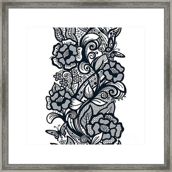 Abstract Seamless Lace Pattern With Framed Print