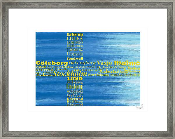 Abstract Swedish Flag  Framed Print