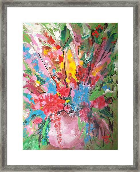 Framed Print featuring the painting Abstract Vase Of Flowers by Hoda Said Ibrahim