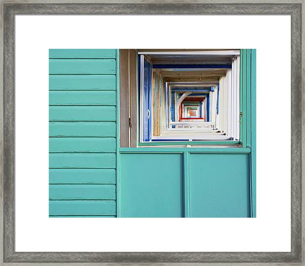 Abstract View Of The Beach Huts At Framed Print