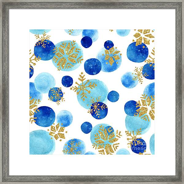 Abstract Winter Pattern With Glittering Framed Print