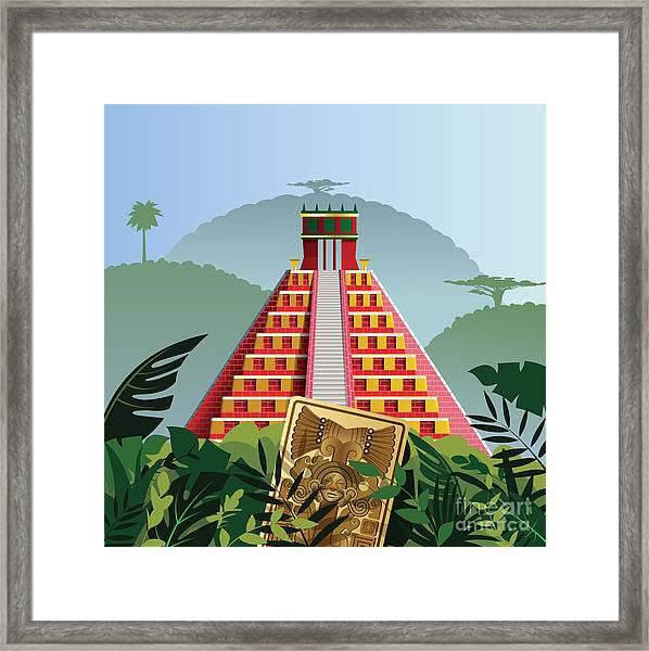 Acient Mayan Pyramid Framed Print