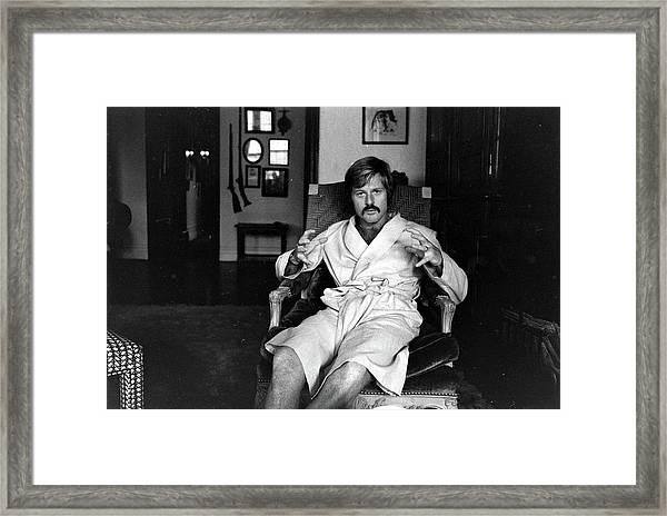 Actor Robert Redford In Bathrobe At Framed Print by John Dominis