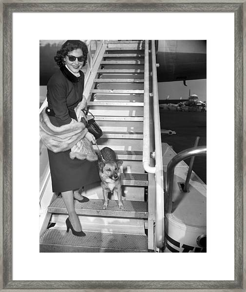 Actress Ava Gardner And Her Dog, Rags Framed Print