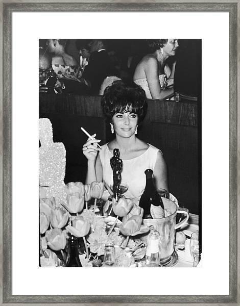 Actress Elizabeth Taylor At Hollywood Framed Print