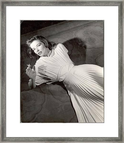 Actress Katharine Hepburn In Pleated Framed Print