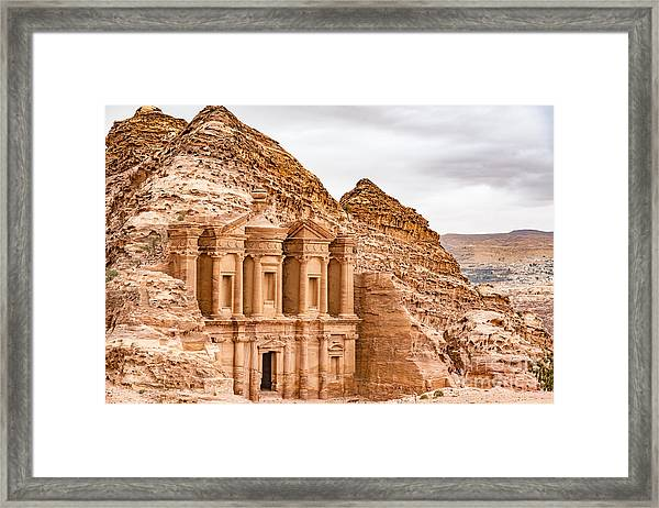 Ad Deir In The Ancient City Of Petra Framed Print
