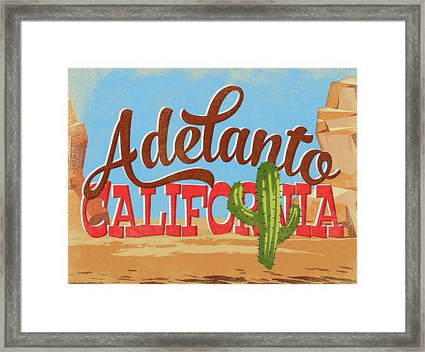 Adelanto California Cartoon Desert Framed Print