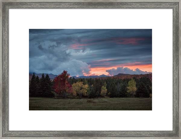 Adirondack Loj Road Sunset Framed Print
