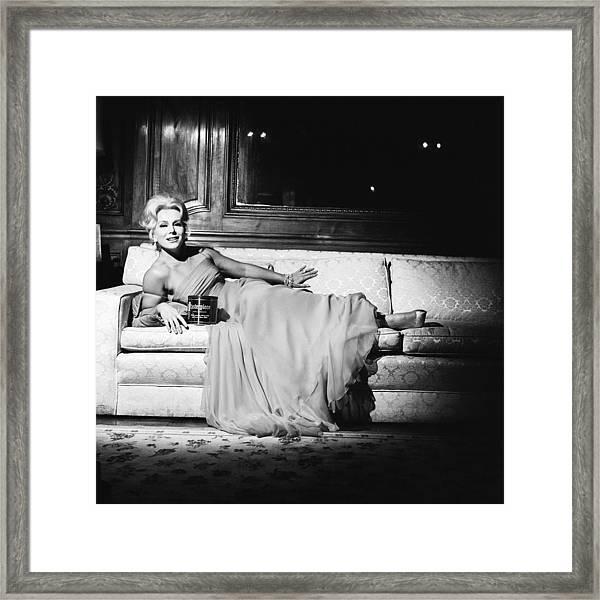 Advertisement With Eva Gabor Framed Print