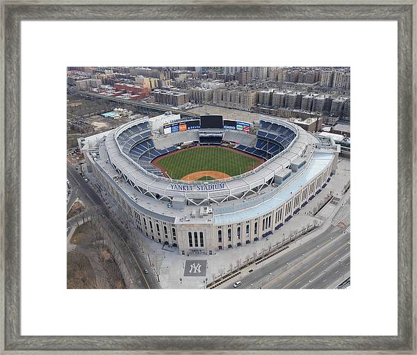 Aerial Photos Of The New Yankee Stadium Framed Print by New York Daily News Archive
