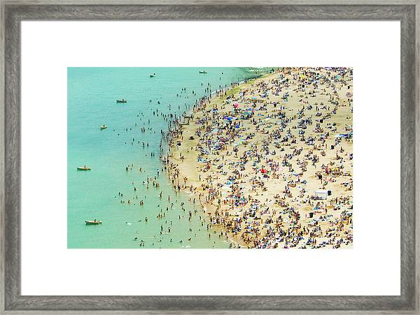 Aerial Shot Of A Crowded Beach Framed Print by By Ken Ilio