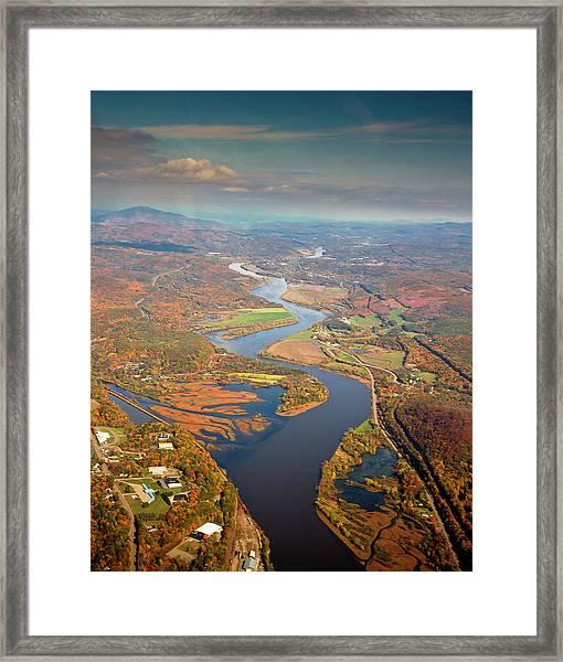 Aerial Shot Of A Curvy River Framed Print