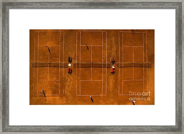 Aerial Shot Of A Tennis Courts With Framed Print