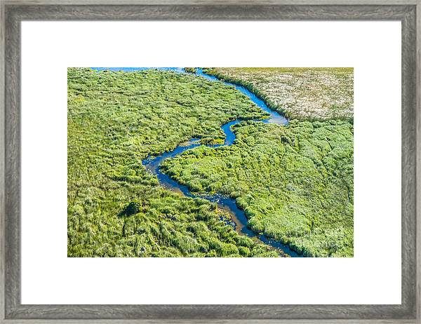 Aerial View Of A Small Stream And Lush Framed Print
