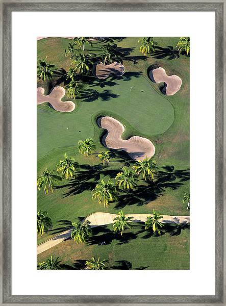 Aerial View Of Back-to-back Greens On Framed Print