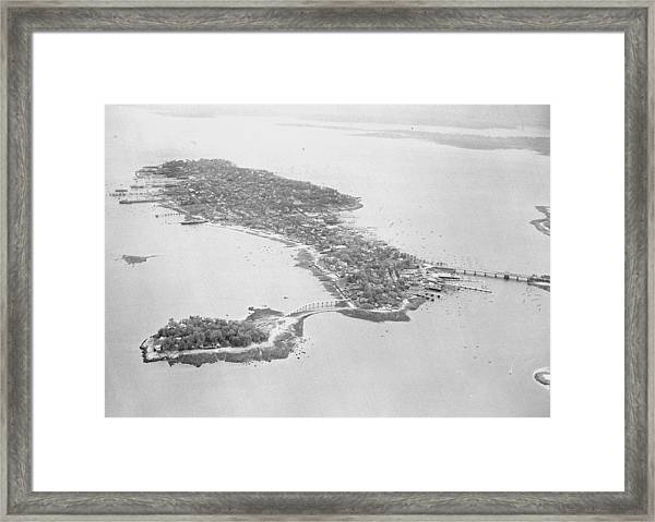 Aerial View Of City Island In The Bronx Framed Print
