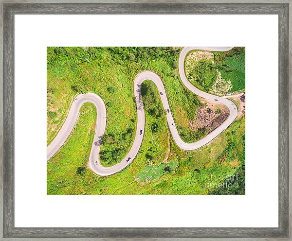 Aerial View Of Crooked Path Of Road On Framed Print