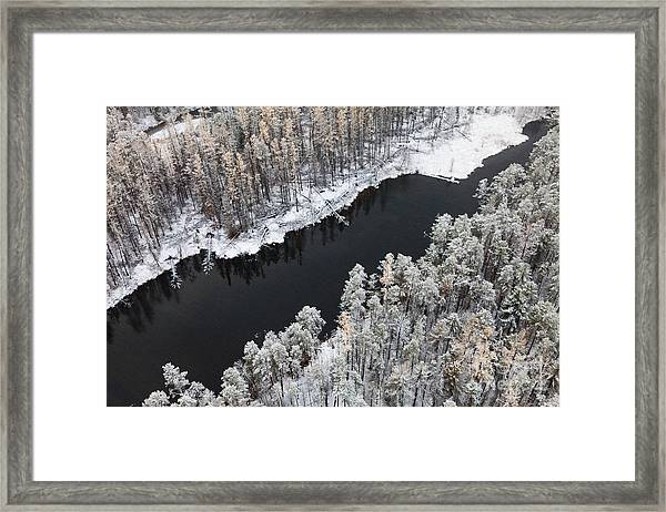 Aerial View Of Forest River In Cold Framed Print by Vladimir Melnikov