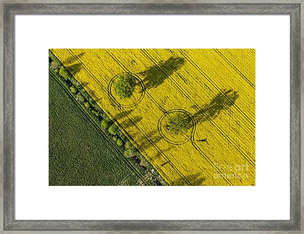 Aerial View Of Harvest Fields In Poland Framed Print